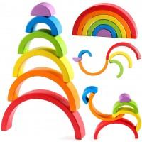 Lewo Wooden Rainbow Stacker Large Nesting Puzzle Blocks Educational Toys Baby