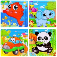 Wooden Jigsaw Puzzles Set Age 2 3 4 5 9 Piece Animals Recognition Preschool Puzzles For Toddler