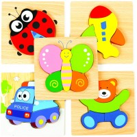 Bhappy Wooden Jigsaw Puzzles For Toddlers Kids 1 2 3 Years Old Educational Toys Gift 5 Packs Bright