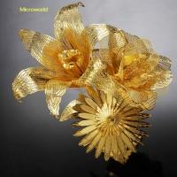 Diy Gift Lover Microworld 3D Metal Puzzle Laser Cut Jigsaw Assemble Model Golden Romantic Flower