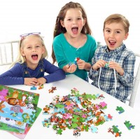 Puzzles Ages 38 Wooden Jigsaw Puzzles 4 Packs Preschool Educational Learning Toys Set For 38