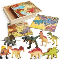 Lurlin 3 In 1 Dinosaur Jigsaw Puzzles In A Wooden Storage Box 12 Pcs Realistic Dinosaur Figures