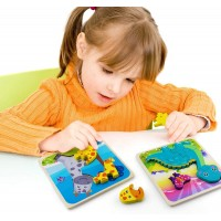 Beetoy Wooden Puzzles For Toddlers 4 Pack Animals Jigsaw Toy For 1 2 3 Years Educational Toy Gift