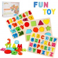 Wooden Puzzles For Toddlers Welonm Wooden Alphabet Number Puzzles And Shape Puzzle Kids Toys Set