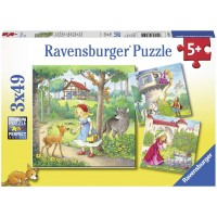 Ravensburger 08051 Rapunzel Red Riding Hood Frog King 3 X 49 Piece Puzzles In A Box 3 X 49 Piece