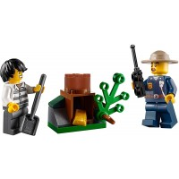 Lego City Mountain Police Minifigure Combo Police Chief And Bandit With Tree Stump Gold Hideout