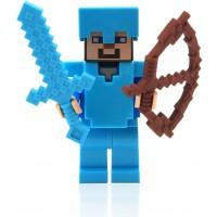 Lego Minecraft Steve With Diamond Armor And