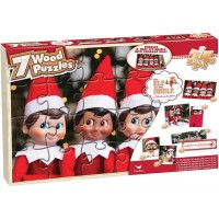 Gift Item Cardinal Elf On The Shelf Seven Wooden Jigsaw Puzzles In Wooden Storage Box
