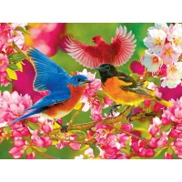 Lpf Kodak Premium Puzzle Colorful Songbirds And Cherry Blossoms 350 Piece Jigsaw