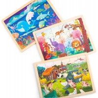 Robud Wooden Jigsaw Puzzles Ages 3 Activity Board 24 Pcs Each In 1
