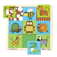 Animals Peek Through Pattern Wooden Puzzle