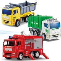 3 City Vehicles - Garbage Truck, Fire Engine and Construction Dump Truck