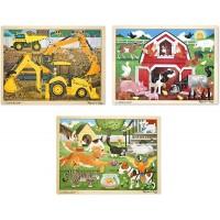 Melissa Doug Wooden Jigsaw Puzzle Arm Construction Pets Puzzle 24