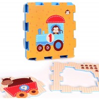 Animals In Train Rubber Eva Foam Puzzle Play Mat Floor 9 Interlocking Playmat Tiles Tile12X12 Inch9