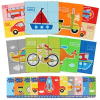 Bammax Jigsaw Puzzles For Toddler Wooden Block Puzzle Peg Board Set With Flash Cards Educational