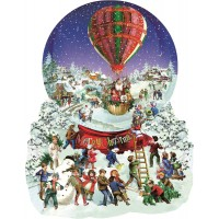 Old Fashioned Snow Globe Merry Christmas Shaped 1000 Pc Jigsaw Puzzle By