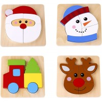 Toysters Wooden Chunky 4 Puzzle Bundle For Toddlers Reindeer Santa Christmas Puzzle Game Preschool