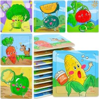 Party Favors Puzzle Packs 12 Pack Mini Tray Puzzles For Toddler Ages 35 Vegetables Themes With