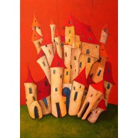 Artifact Puzzles Tomasz Pietrzyk Red Towers Wooden Jigsaw