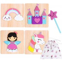Toddler Wooden Jigsaw Puzzles Chunky 4 Pack With Extra Magic Wand Educational Toys For Preschool