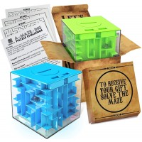 2 Pack Money Puzzle Gift Boxes Two Cool Cube Shaped Puzzle Money Holder Maze Challenging And Unique