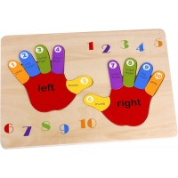 Toysters Wooden Chunky Hand Foot Puzzle For Toddlers 12Piece Counting Numbers Math Puzzle Game