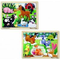 Melissa Doug Animals Wooden Jigsaw Puzzles Set Pets And Farm Life 12 Pcs