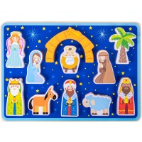 Piece On Earth Nativity Puzzle Board Childrens 11 Pc Chunky Wooden Inset Shapes First Christmas New