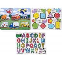 Melissa Doug Wooden Peg Puzzles Set Alphabet Vehicles And