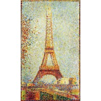 Whimsical Seurat Eiffel Tower Wooden Jigsaw