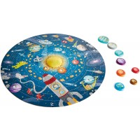 Hape Solar System Puzzle Round Solar System Puzzle Toy Solid Wood Pieces And A Glowing Led