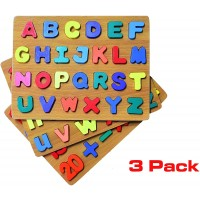 Wooden Alpha Numeric Puzzle 3 In 1 Pack With 77 Letters Uppercase Lowercase And