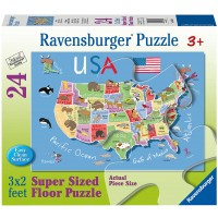 Ravensburger Usa Map Floor24 Piece Jigsaw Puzzle Every Is Unique Pieces Fit Together