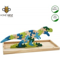 Honeykidz 3D Wooden Dinosaur Jigsaw Puzzle Trex With Storage Box Educational Fun Game 27