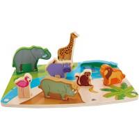 Hape Wild Animal Puzzle Play Game Multicolor 5 X