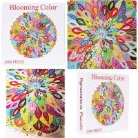 Bgraamiens Puzzleblooming Color1000 Pieces Color Challenge Blue Board Round Jigsaw