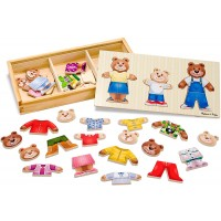 Melissa Doug Bear Family Dressup Puzzle Preschool Mixandmatch Outfits Sturdy Storage Box 45 Pieces