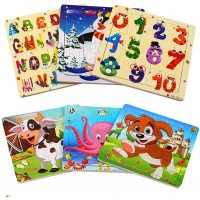 Kangler Wooden Jigsaw Puzzles Set Age 36 20 Piece Animals Colorful Wooden Puzzles For Toddler