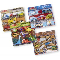 Melissa Doug Chunky Wooden Puzzle Dinosaurs Construction Tools Vehicles