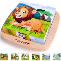 6 In 1 Wooden Block Puzzle Animal Cube Puzzle For 2 3 4 Years Boy Girl Educational Toys Montessori