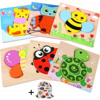 Innocheer Wooden Animal Jigsaw Puzzles For Toddlers Educational Toys With 6Pcs Chunky Bright