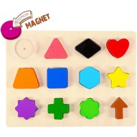 Wooden Educational Magnetic Shape Puzzle Learn Colors Shape Recognition Toy Toddler Preschool Game