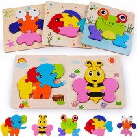 Rolimate Wooden Jigsaw Puzzles For 2 3 4 Years Old Boys Girls Toddlers Early Educational Preschool