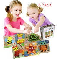 Wooden Jigsaw Puzzles Cutie Carry Animal Shape Gift Set For Toddlers Baby Kids 1 2 3 Years Old