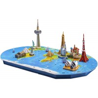Wisestar 262L World Trip 3D Puzzles Model For Adults And Kids 136Pcs Large Map With 12