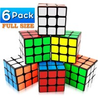 Integear 6 Pack Full Size Magic Speed Cube 3X3X3 Easy Turning And Smooth Play Puzzle Party Toy Cube