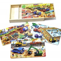 Timy 4In1 Wooden Jigsaw Puzzle Toddler Engineering Vehicles Puzzles With Wooden
