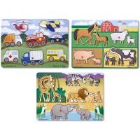 Melissa Doug Wooden Peg Puzzles Set Farm Safari And