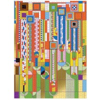 Galison Frank Lloyd Wright Saguaro Forms And Cactus Flowers Gold Foil Puzzle 1000 Pieces 20x27 Fun