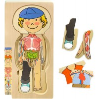 Kidzlane Wooden My Body Puzzle For Toddlers Kids 29 Piece Boys Anatomy Play Set Ages